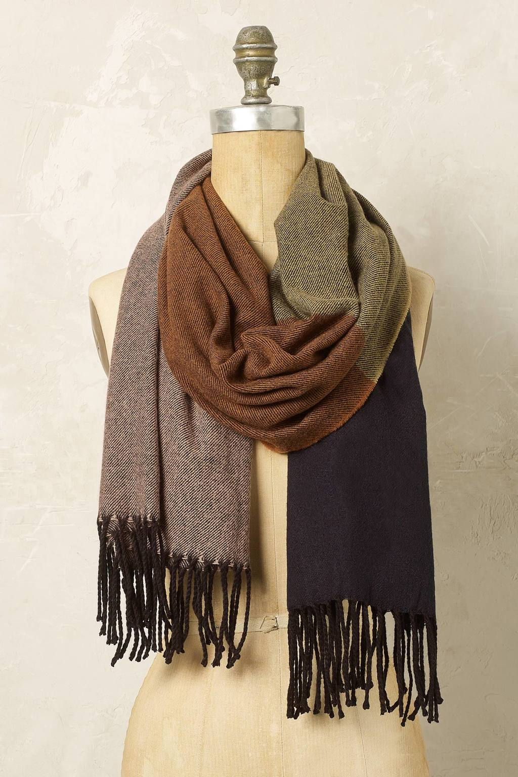 Suki Colour Block Scarf - predominant colour: chocolate brown; secondary colour: charcoal; occasions: casual, creative work; type of pattern: light; style: regular; size: standard; material: knits; embellishment: fringing; pattern: colourblock; multicoloured: multicoloured; season: a/w 2016; wardrobe: highlight
