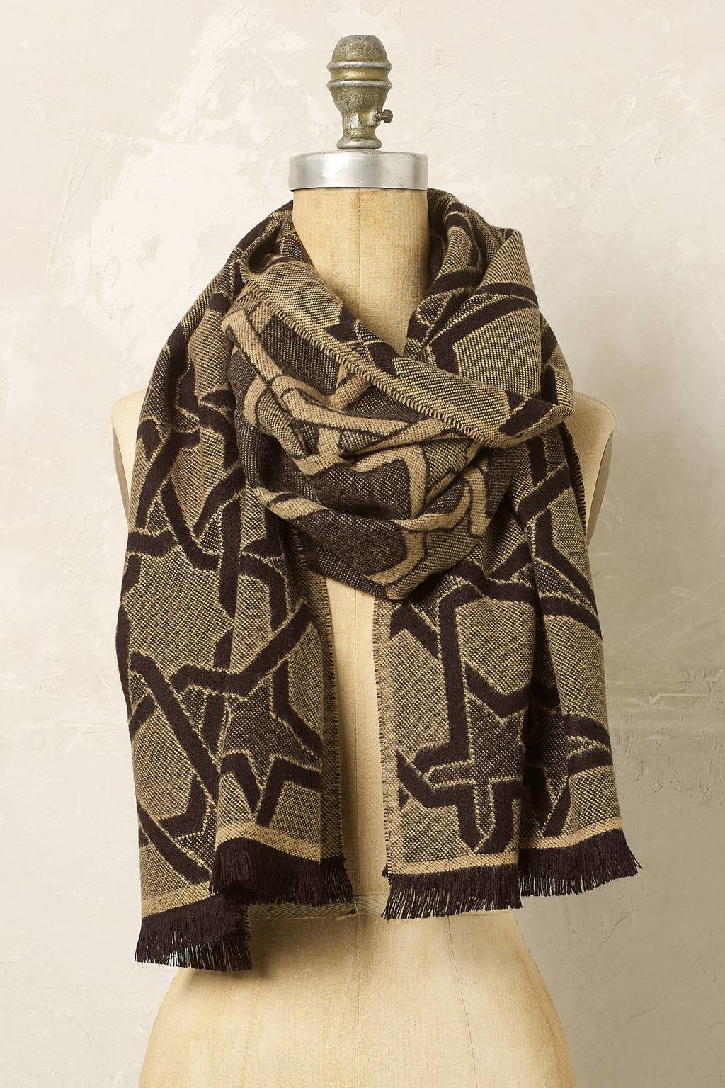 Kiya Star Print Scarf - predominant colour: camel; occasions: casual; type of pattern: heavy; style: wrap; size: large; material: fabric; pattern: patterned/print; season: a/w 2016; wardrobe: highlight