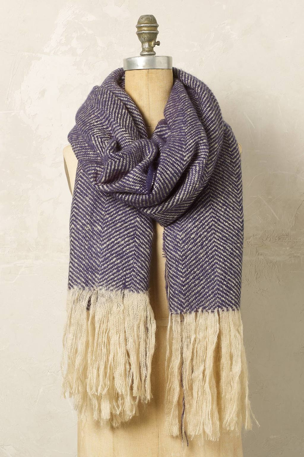 Dakota Scarf - secondary colour: ivory/cream; predominant colour: navy; occasions: casual; type of pattern: standard; style: wrap; size: large; material: fabric; embellishment: fringing; pattern: plain; wardrobe: basic; season: a/w 2016