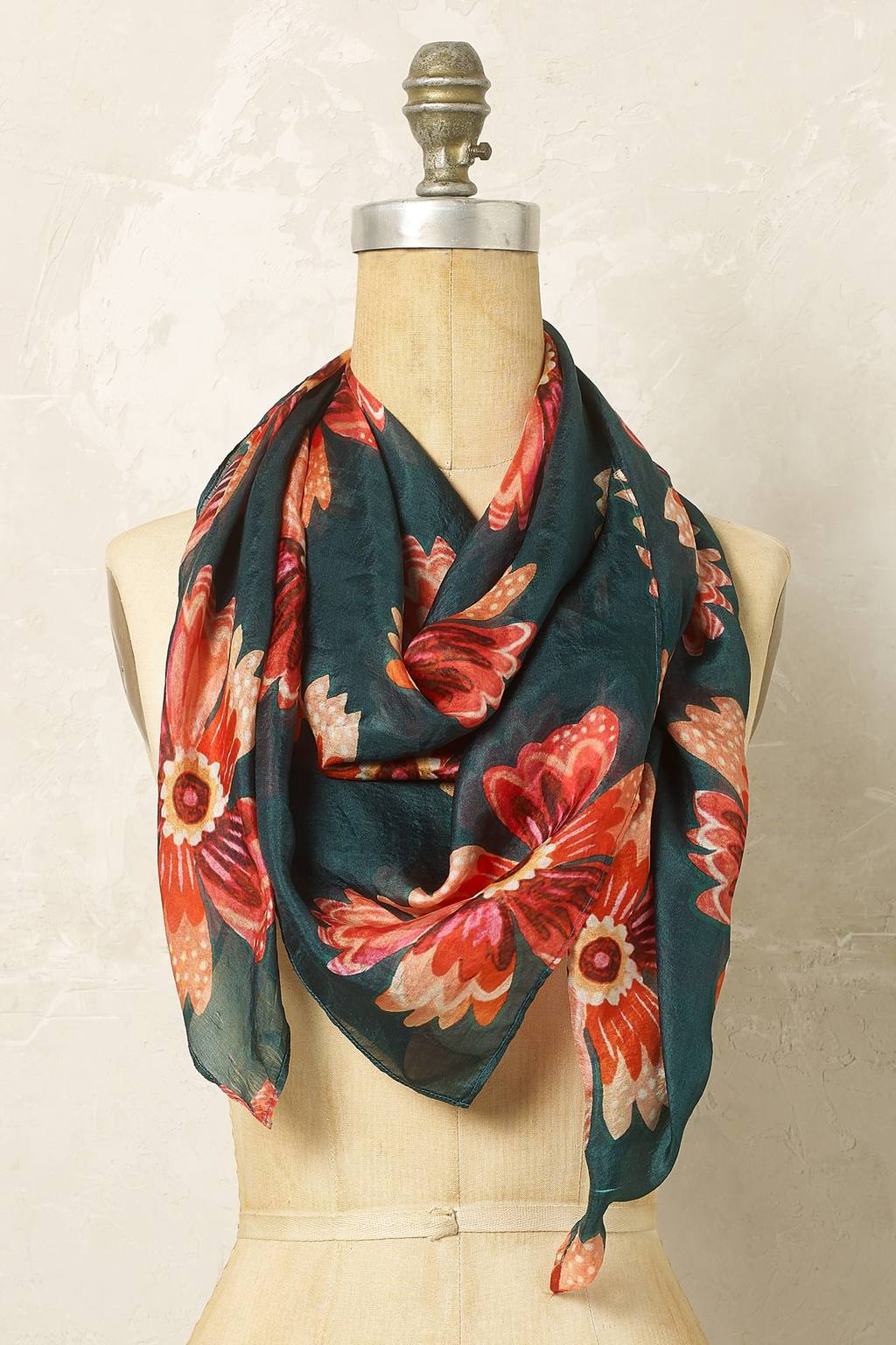 Dahlia Silk Floral Scarf - predominant colour: dark green; secondary colour: coral; occasions: casual; type of pattern: standard; style: regular; size: standard; material: fabric; pattern: florals; multicoloured: multicoloured; season: a/w 2016; wardrobe: highlight