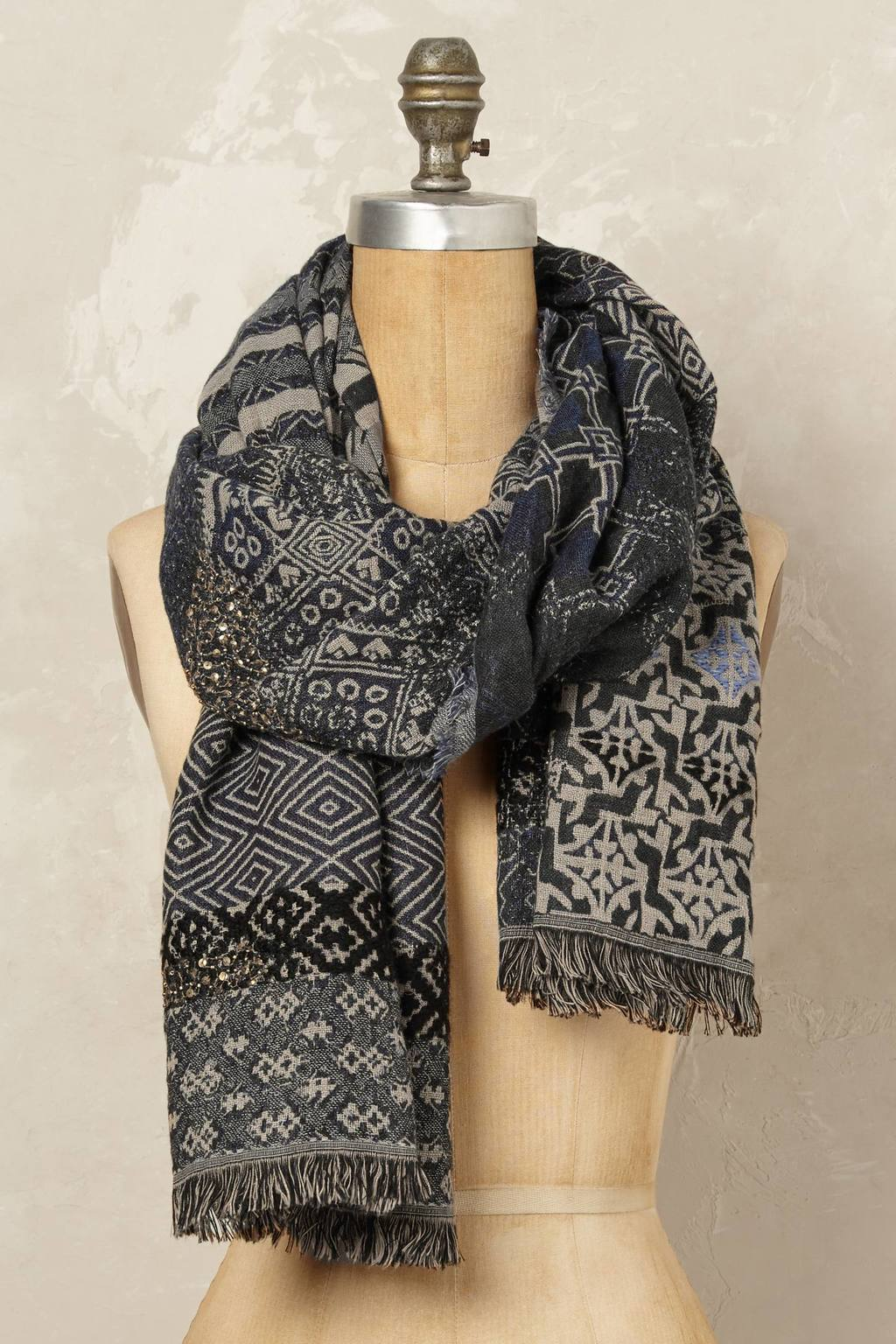 Agra Scarf - predominant colour: charcoal; secondary colour: light grey; occasions: casual; type of pattern: heavy; style: regular; size: standard; material: fabric; pattern: patterned/print; multicoloured: multicoloured; season: a/w 2016