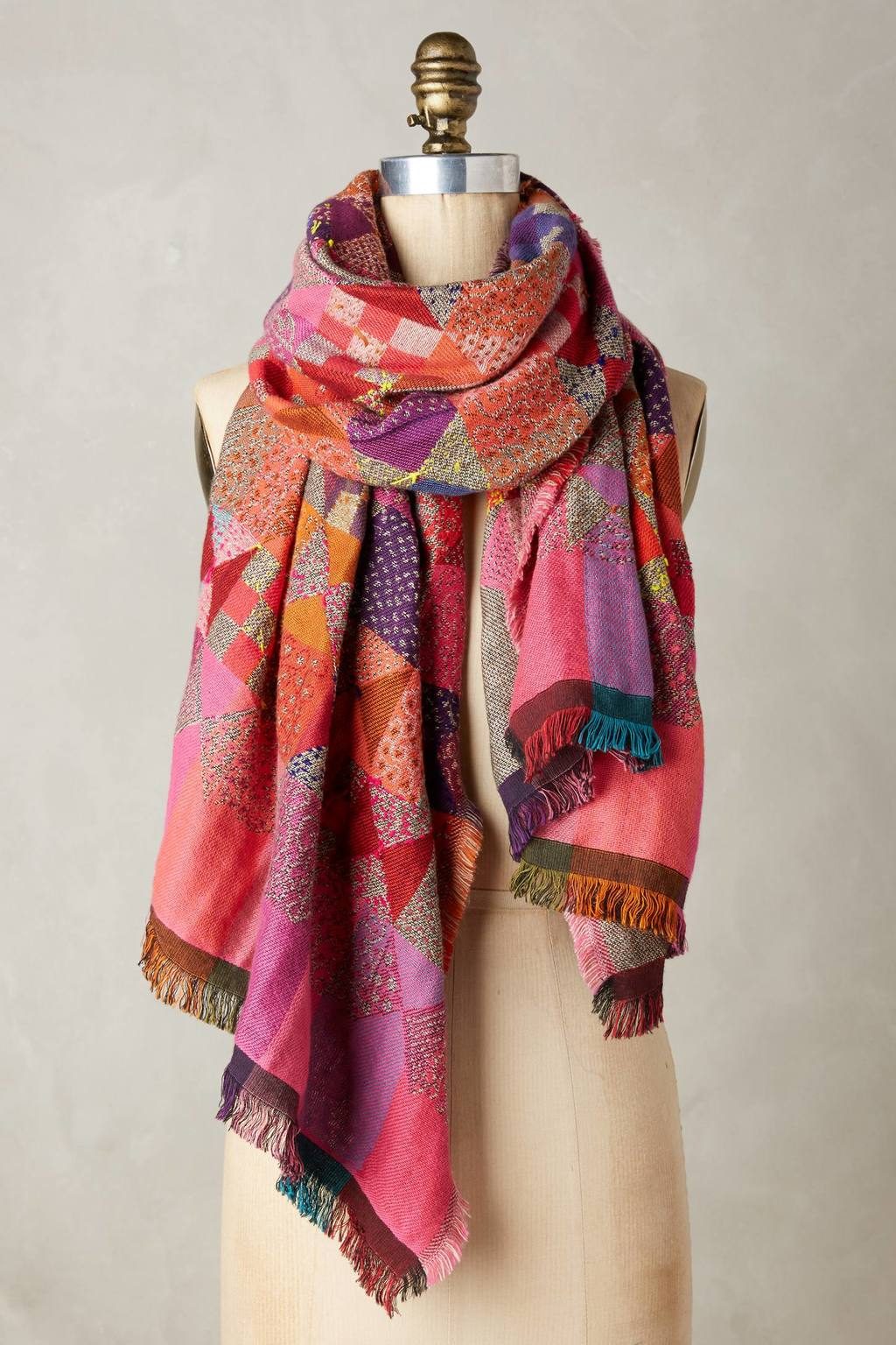 Tallgrass Scarf - predominant colour: pink; secondary colour: purple; occasions: casual; type of pattern: heavy; style: regular; size: standard; material: fabric; embellishment: fringing; pattern: patterned/print; multicoloured: multicoloured; season: a/w 2016; wardrobe: highlight