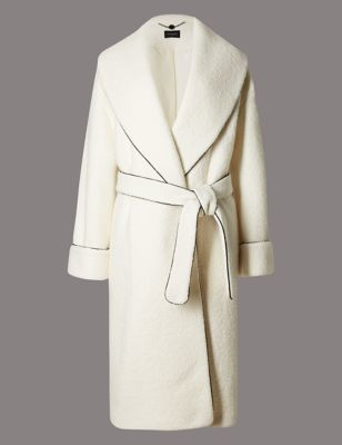 Wool Blend Contrasting Edge Coat With Belt - pattern: plain; collar: shawl/waterfall; style: wrap around; predominant colour: ivory/cream; occasions: work, occasion; fit: tailored/fitted; fibres: wool - mix; length: below the knee; waist detail: belted waist/tie at waist/drawstring; sleeve length: long sleeve; sleeve style: standard; collar break: medium; pattern type: fabric; texture group: woven bulky/heavy; wardrobe: investment; season: a/w 2016