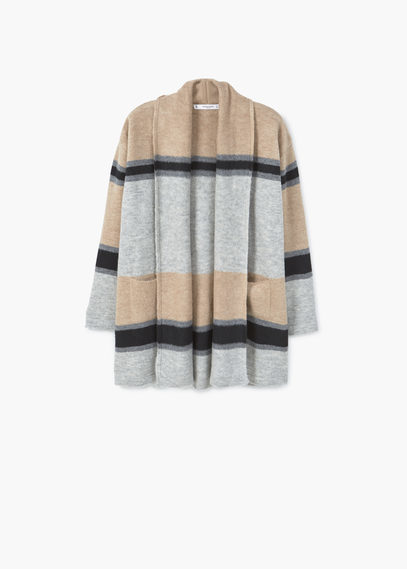 Striped Jacket - pattern: horizontal stripes; collar: round collar/collarless; fit: loose; length: below the bottom; predominant colour: nude; secondary colour: light grey; occasions: casual; fibres: cotton - mix; sleeve length: long sleeve; sleeve style: standard; texture group: knits/crochet; collar break: low/open; pattern type: knitted - fine stitch; style: fluid/kimono; multicoloured: multicoloured; season: a/w 2016