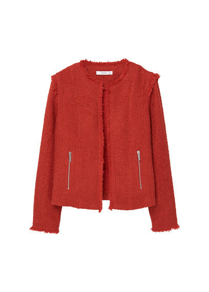 Frayed Edges Jacket - pattern: plain; style: single breasted blazer; collar: round collar/collarless; predominant colour: true red; occasions: casual, creative work; length: standard; fit: straight cut (boxy); fibres: polyester/polyamide - mix; sleeve length: long sleeve; sleeve style: standard; collar break: low/open; pattern type: fabric; pattern size: standard; texture group: tweed - light/midweight; season: a/w 2016
