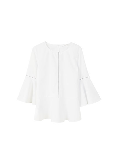 Ruffle Cotton Blouse - neckline: round neck; sleeve style: bell sleeve; pattern: plain; style: blouse; predominant colour: white; occasions: casual, creative work; length: standard; fibres: cotton - 100%; fit: straight cut; sleeve length: 3/4 length; texture group: cotton feel fabrics; pattern type: fabric; wardrobe: basic; season: a/w 2016