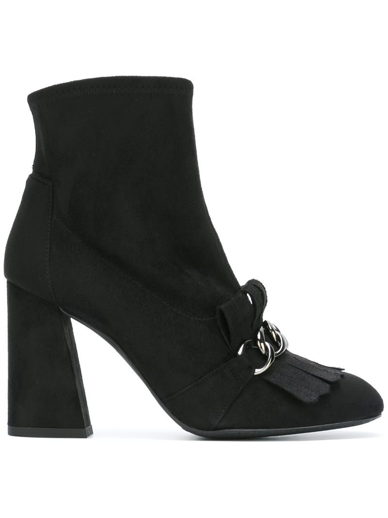 'ringleader' Boots, Women's, Black - predominant colour: black; occasions: casual, creative work; material: suede; heel height: high; heel: block; toe: round toe; boot length: ankle boot; style: standard; finish: plain; pattern: plain; embellishment: chain/metal; season: a/w 2016; wardrobe: highlight