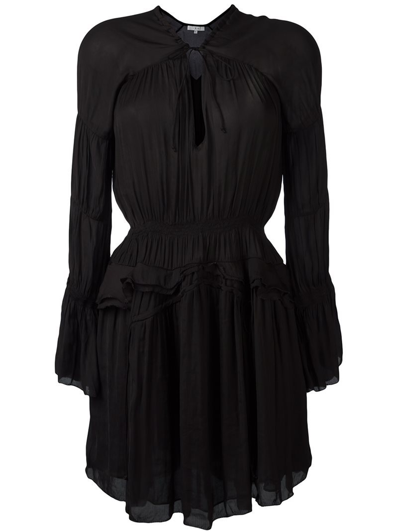 Draped V Neck Dress, Women's, Black - style: shift; length: mid thigh; fit: fitted at waist; pattern: plain; predominant colour: black; occasions: evening; neckline: peep hole neckline; fibres: polyester/polyamide - mix; hip detail: adds bulk at the hips; sleeve length: long sleeve; sleeve style: standard; texture group: sheer fabrics/chiffon/organza etc.; pattern type: fabric; season: a/w 2016; wardrobe: event