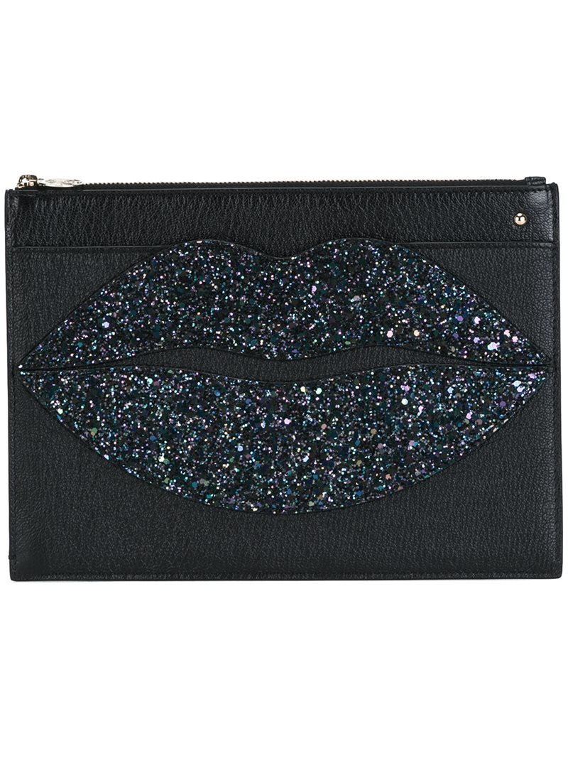 'pouty' Clutch, Women's, Black - predominant colour: black; occasions: evening; type of pattern: standard; style: clutch; length: hand carry; size: small; material: leather; embellishment: glitter; pattern: plain; finish: plain; season: a/w 2016; wardrobe: event
