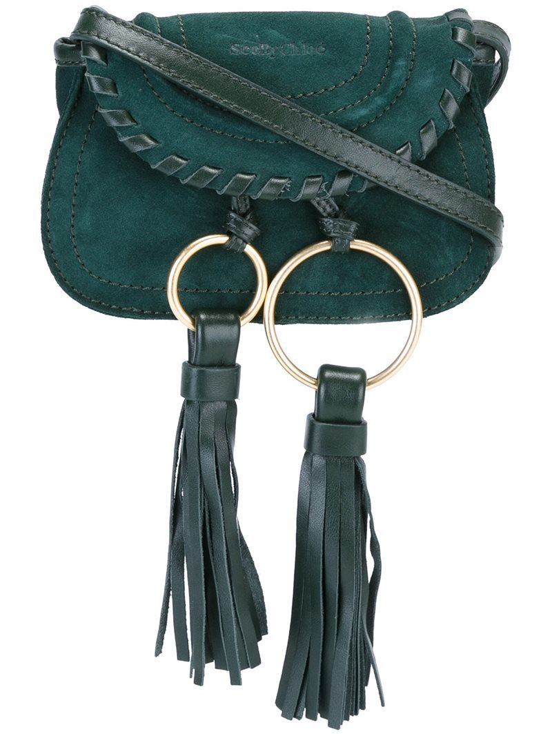 'polly' Belt & Crossbody Bag, Women's, Green - predominant colour: dark green; occasions: casual, creative work; type of pattern: standard; style: shoulder; length: shoulder (tucks under arm); size: small; material: leather; embellishment: tassels; pattern: plain; finish: plain; season: a/w 2016; wardrobe: highlight