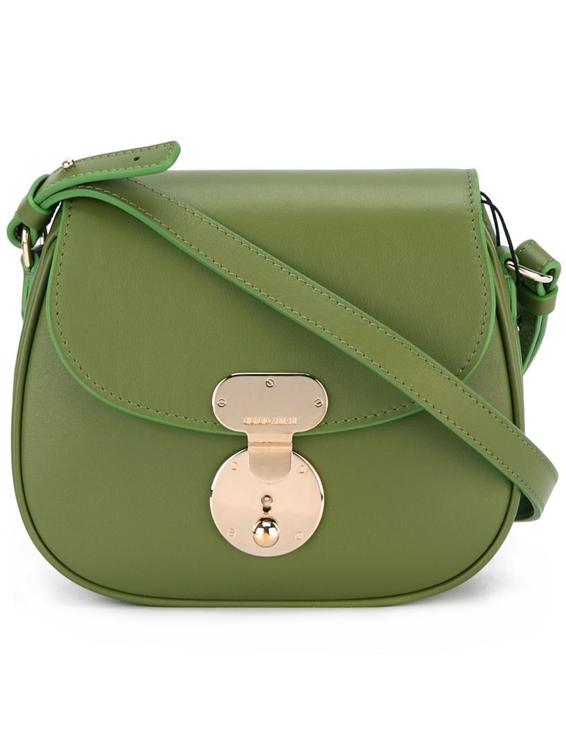 Foldover Top Crossbody Bag, Women's, Green - predominant colour: khaki; occasions: casual, creative work; type of pattern: standard; style: saddle; length: across body/long; size: small; material: leather; pattern: plain; finish: plain; wardrobe: basic; season: a/w 2016