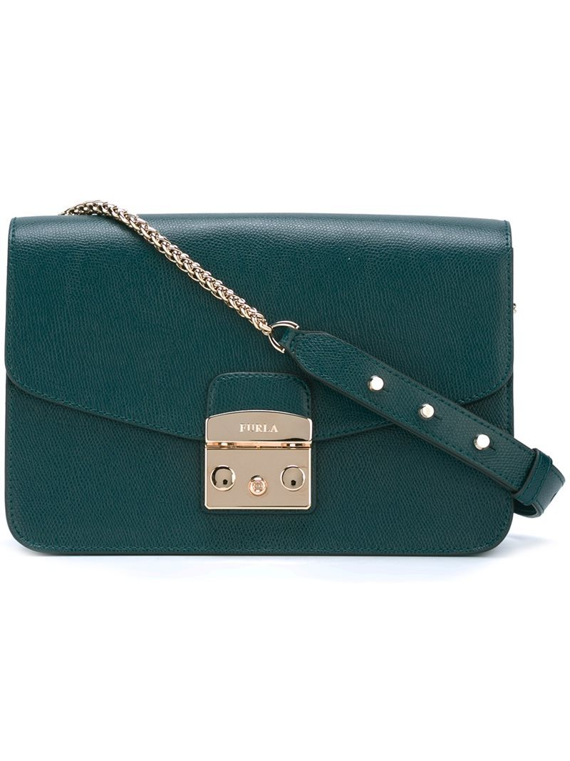 Push Lock Crossbody Bag, Women's, Green - predominant colour: dark green; secondary colour: gold; occasions: casual, creative work; type of pattern: standard; style: messenger; length: across body/long; size: small; material: leather; pattern: plain; finish: plain; season: a/w 2016