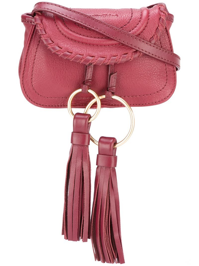 'polly' Belt & Crossbody Bag, Women's, Pink/Purple - predominant colour: pink; occasions: casual; type of pattern: standard; style: shoulder; length: across body/long; size: standard; material: leather; embellishment: tassels; pattern: plain; finish: plain; season: a/w 2016; wardrobe: highlight