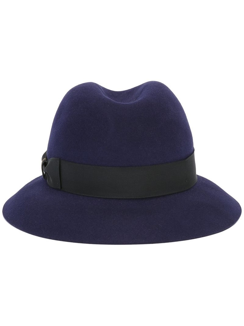 Felt Hat, Women's, Blue - predominant colour: navy; secondary colour: black; occasions: casual; type of pattern: standard; embellishment: ribbon; style: trilby; size: standard; material: felt; pattern: plain; season: a/w 2016; wardrobe: highlight