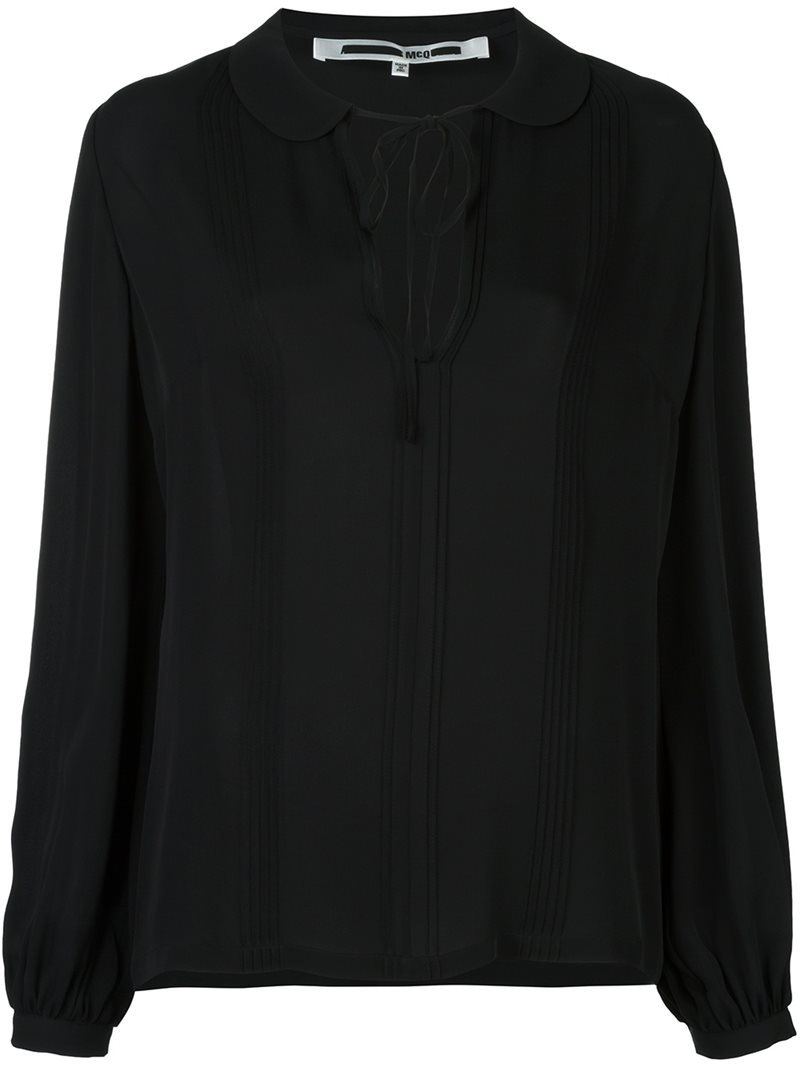 Tied Neckline Blouse, Women's, Black - pattern: plain; neckline: pussy bow; style: blouse; predominant colour: black; occasions: evening; length: standard; fibres: silk - 100%; fit: loose; sleeve length: long sleeve; sleeve style: standard; texture group: silky - light; pattern type: fabric; season: a/w 2016; wardrobe: event
