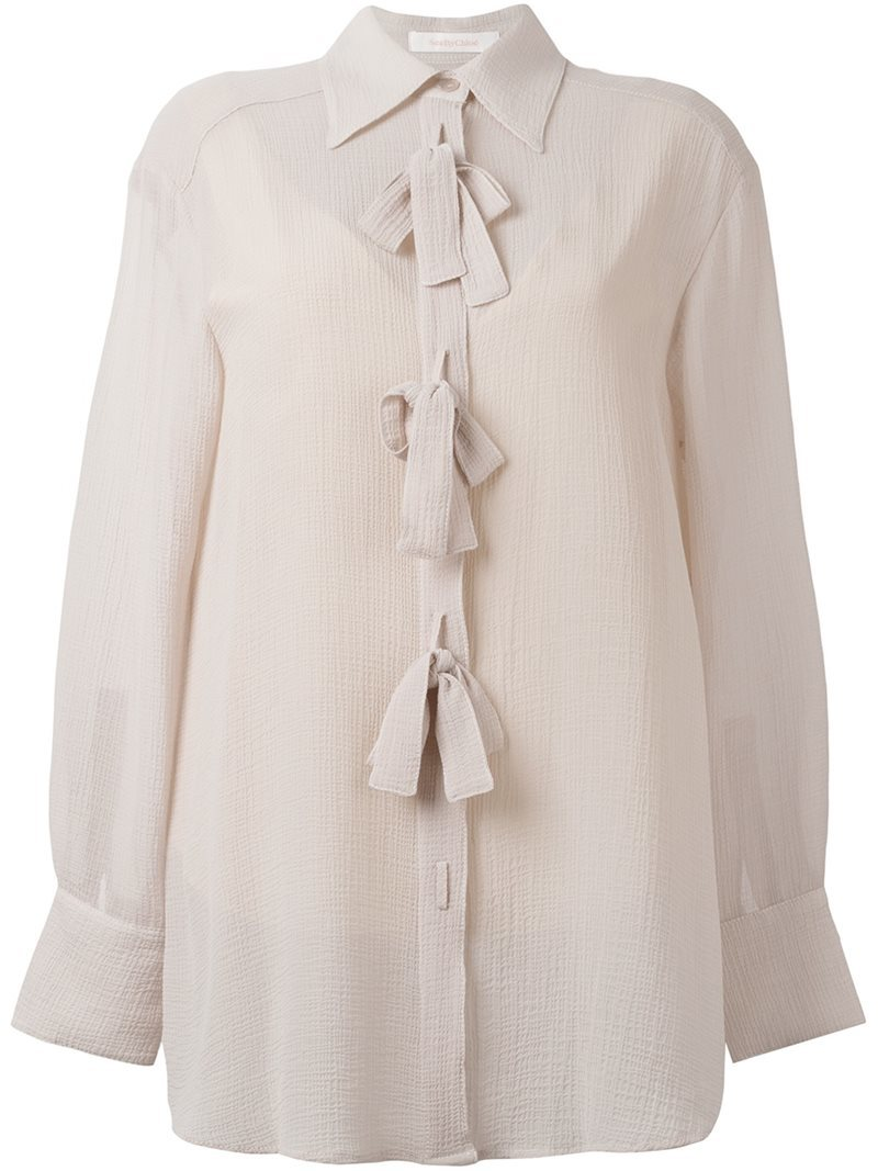 Bow Appliqué Sheer Shirt, Women's, Pink/Purple - neckline: shirt collar/peter pan/zip with opening; pattern: plain; style: shirt; predominant colour: ivory/cream; occasions: evening; length: standard; fibres: polyester/polyamide - 100%; fit: loose; sleeve length: long sleeve; sleeve style: standard; texture group: sheer fabrics/chiffon/organza etc.; pattern type: fabric; season: a/w 2016
