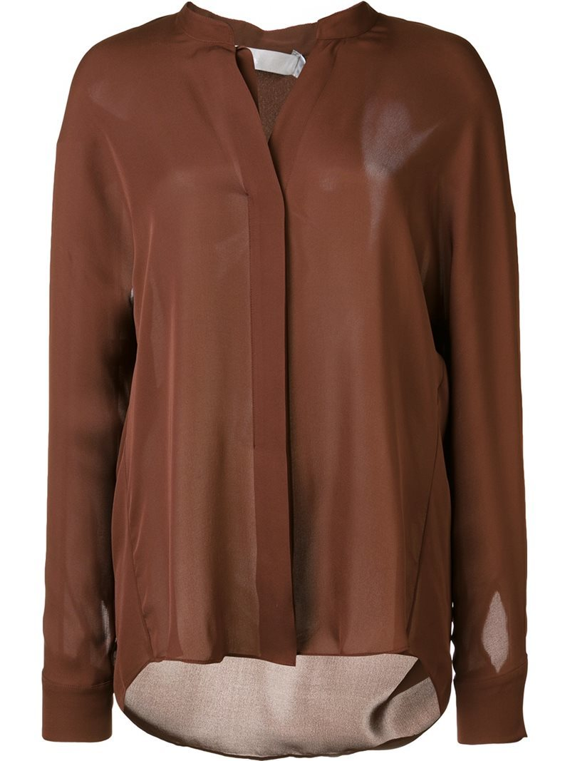 Band Collar Shirt, Women's, Brown - pattern: plain; style: blouse; predominant colour: tan; occasions: evening; length: standard; neckline: collarstand & mandarin with v-neck; fibres: silk - 100%; fit: loose; sleeve length: long sleeve; sleeve style: standard; texture group: sheer fabrics/chiffon/organza etc.; pattern type: fabric; season: a/w 2016; wardrobe: event