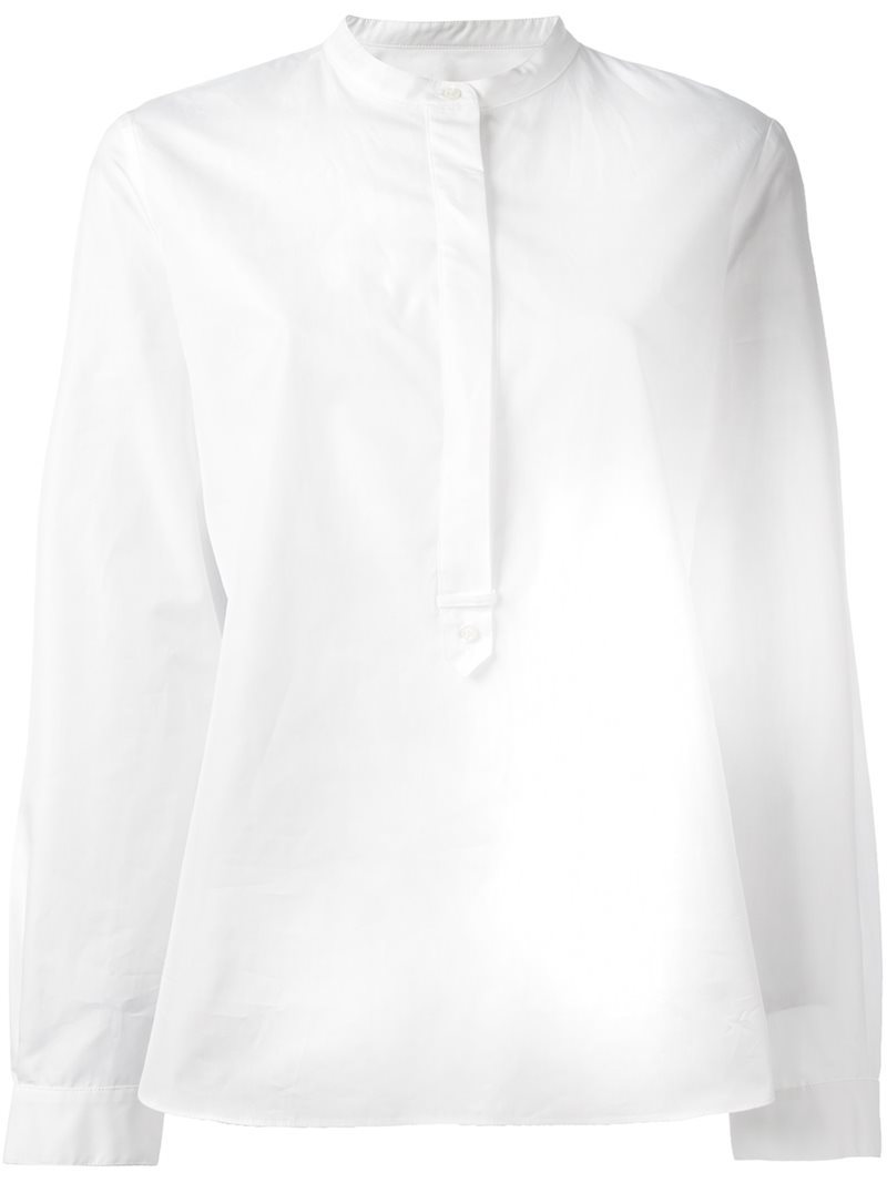 'masculine' Shirt, Women's, White - pattern: plain; style: shirt; predominant colour: white; occasions: casual, work, creative work; length: standard; neckline: collarstand; fibres: cotton - 100%; fit: body skimming; sleeve length: long sleeve; sleeve style: standard; texture group: cotton feel fabrics; pattern type: fabric; wardrobe: basic; season: a/w 2016