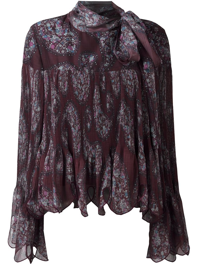 Paisley Print Scalloped Blouse, Women's, Brown - pattern: paisley; neckline: pussy bow; style: blouse; predominant colour: chocolate brown; secondary colour: light grey; occasions: evening; length: standard; fibres: cotton - 100%; fit: body skimming; sleeve length: long sleeve; sleeve style: standard; texture group: cotton feel fabrics; pattern type: fabric; pattern size: standard; multicoloured: multicoloured; season: a/w 2016; wardrobe: event