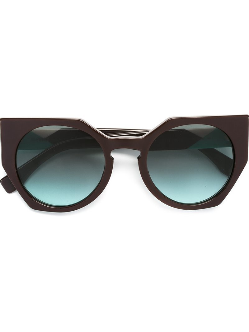 'facets' Sunglasses, Women's, Brown - predominant colour: chocolate brown; occasions: casual, holiday; style: cateye; size: standard; material: plastic/rubber; pattern: plain; finish: plain; wardrobe: basic; season: a/w 2016