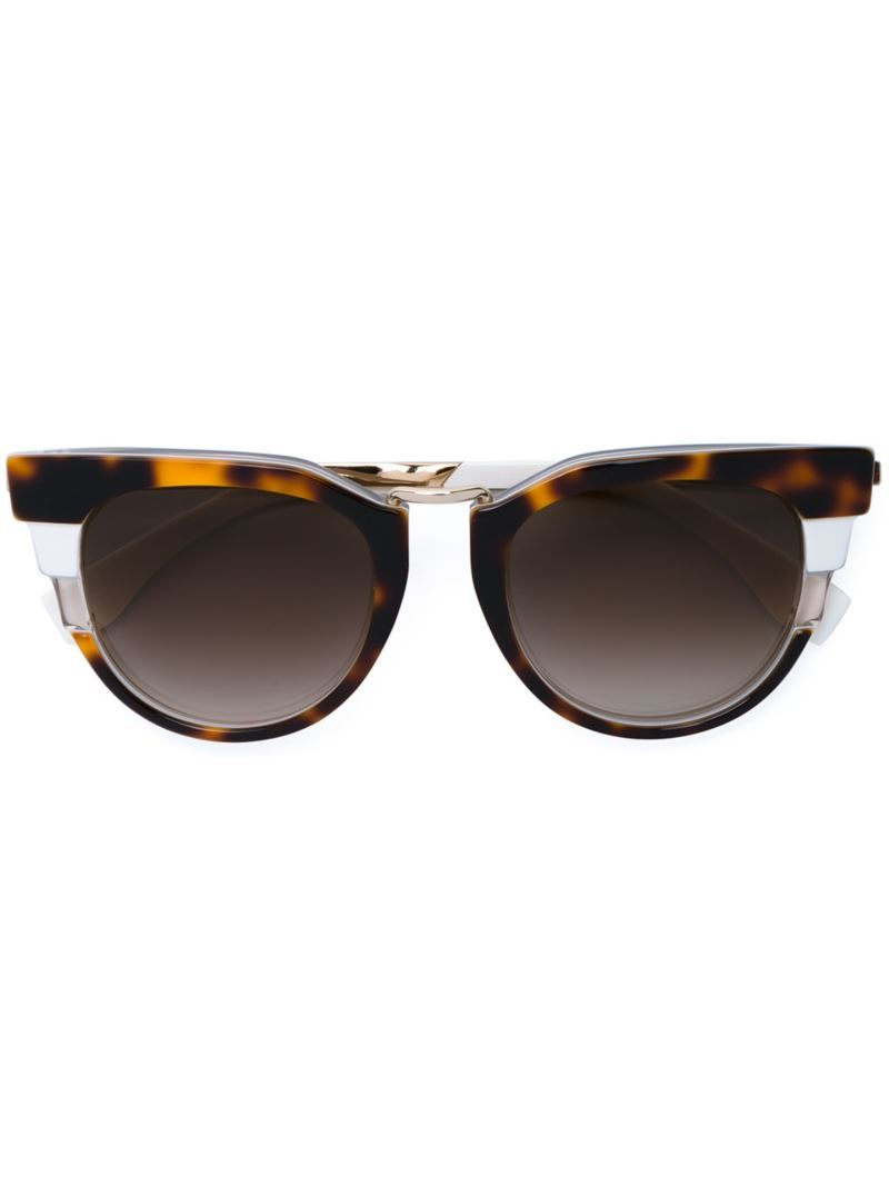 'metropolis' Tri Colour Sunglasses, Women's, Brown - predominant colour: chocolate brown; occasions: casual, holiday; style: cateye; size: standard; material: plastic/rubber; pattern: tortoiseshell; finish: plain; wardrobe: basic; season: a/w 2016
