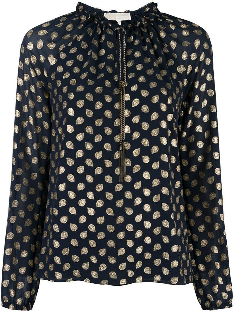 Metallic Dots Longsleeved Blouse, Women's, Size: Small, Blue - neckline: high neck; style: blouse; predominant colour: navy; occasions: work, creative work; length: standard; fibres: polyester/polyamide - 100%; fit: body skimming; sleeve length: long sleeve; sleeve style: standard; texture group: sheer fabrics/chiffon/organza etc.; pattern type: fabric; pattern: patterned/print; pattern size: big & busy (top); season: a/w 2016; wardrobe: highlight