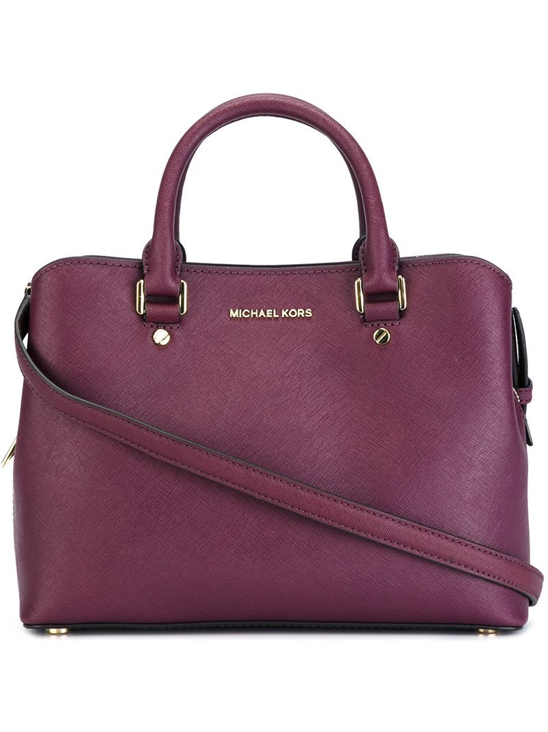 Medium Double Handle Tote, Women's, Pink/Purple - predominant colour: purple; occasions: casual, creative work; type of pattern: standard; style: tote; length: handle; size: standard; material: leather; pattern: plain; finish: plain; season: a/w 2016; wardrobe: highlight