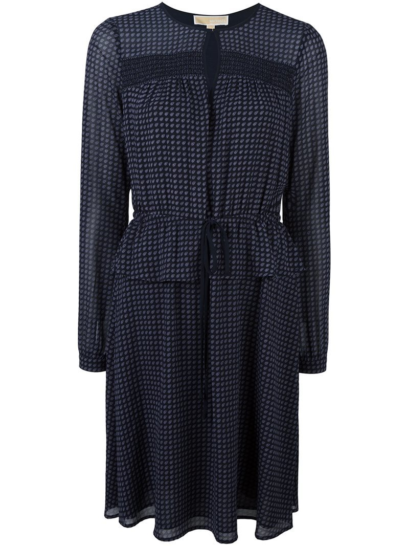 Small Pattern Longsleeved Dress, Women's, Blue - pattern: checked/gingham; waist detail: peplum waist detail; predominant colour: navy; occasions: evening; length: on the knee; fit: fitted at waist & bust; style: fit & flare; fibres: polyester/polyamide - 100%; neckline: crew; sleeve length: long sleeve; sleeve style: standard; texture group: sheer fabrics/chiffon/organza etc.; pattern type: fabric; season: a/w 2016; wardrobe: event