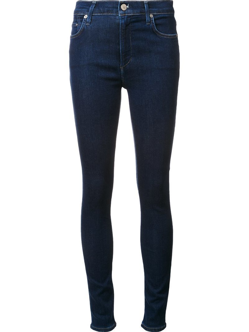 Skinny Jeans, Women's, Blue - style: skinny leg; length: standard; pattern: plain; waist: high rise; predominant colour: navy; occasions: casual, creative work; fibres: cotton - stretch; jeans detail: dark wash; texture group: denim; pattern type: fabric; wardrobe: basic; season: a/w 2016
