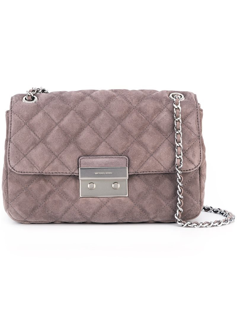 Large 'sloan' Shoulder Bag, Women's, Grey - predominant colour: blush; secondary colour: silver; occasions: casual, creative work; type of pattern: standard; style: shoulder; length: shoulder (tucks under arm); size: small; material: leather; pattern: plain; finish: plain; season: a/w 2016