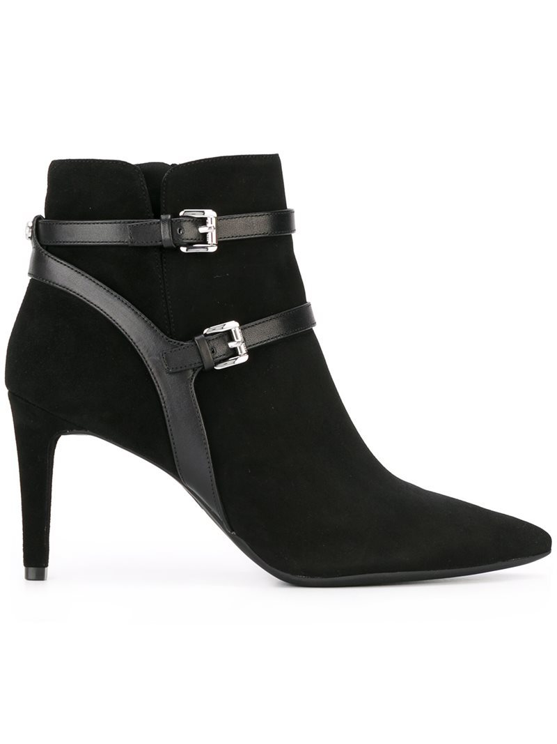 'fawn' Ankle Boots, Women's, Black - predominant colour: black; occasions: casual; material: suede; heel height: high; embellishment: buckles; heel: stiletto; toe: pointed toe; boot length: ankle boot; style: standard; finish: plain; pattern: plain; season: a/w 2016; wardrobe: highlight