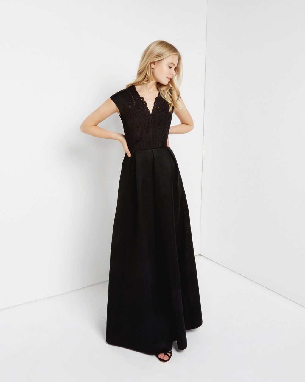 Lace Mesh Maxi Dress Black - neckline: v-neck; sleeve style: capped; pattern: plain; style: maxi dress; predominant colour: black; occasions: evening; length: floor length; fit: fitted at waist & bust; fibres: polyester/polyamide - 100%; sleeve length: short sleeve; texture group: sheer fabrics/chiffon/organza etc.; pattern type: fabric; season: a/w 2016; wardrobe: event