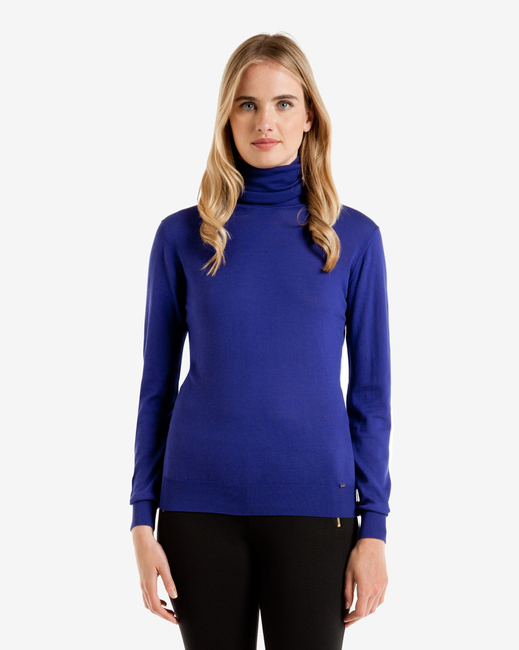 Silk Blend Roll Neck Jumper Blue - pattern: plain; neckline: roll neck; style: standard; predominant colour: royal blue; occasions: casual, creative work; length: standard; fibres: silk - mix; fit: standard fit; sleeve length: long sleeve; sleeve style: standard; texture group: knits/crochet; pattern type: knitted - fine stitch; season: a/w 2016; wardrobe: highlight
