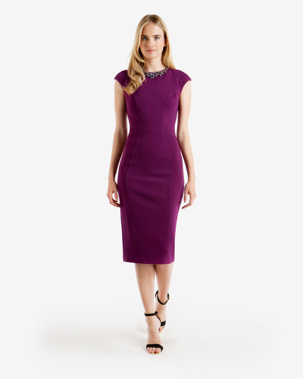 Embellished Midi Dress Grape - length: below the knee; sleeve style: capped; fit: tight; pattern: plain; style: bodycon; predominant colour: purple; occasions: evening; fibres: polyester/polyamide - stretch; neckline: crew; sleeve length: short sleeve; texture group: jersey - clingy; pattern type: fabric; embellishment: beading; season: a/w 2016; wardrobe: event; embellishment location: bust