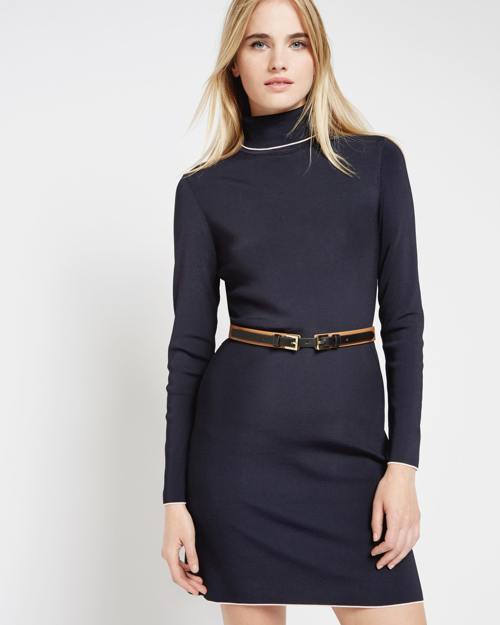 Belt Detail Knitted Dress Navy - style: jumper dress; length: mid thigh; pattern: plain; neckline: roll neck; waist detail: belted waist/tie at waist/drawstring; predominant colour: navy; occasions: casual, creative work; fit: body skimming; fibres: viscose/rayon - stretch; sleeve length: long sleeve; sleeve style: standard; texture group: knits/crochet; pattern type: knitted - other; wardrobe: basic; season: a/w 2016