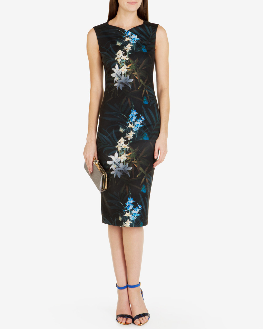 Twilight Floral Midi Dress Black - length: below the knee; fit: tight; sleeve style: sleeveless; style: bodycon; secondary colour: diva blue; predominant colour: black; occasions: evening; fibres: polyester/polyamide - stretch; neckline: crew; sleeve length: sleeveless; texture group: jersey - clingy; pattern type: fabric; pattern: florals; multicoloured: multicoloured; season: a/w 2016