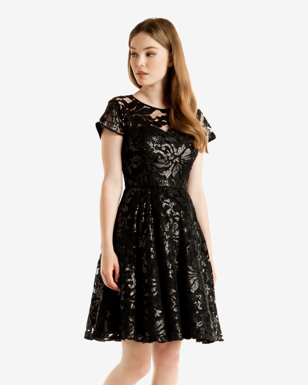 Sequin Floral Lace Dress Black - style: full skirt; predominant colour: black; occasions: evening; length: just above the knee; fit: fitted at waist & bust; fibres: polyester/polyamide - 100%; neckline: crew; sleeve length: short sleeve; sleeve style: standard; texture group: lace; pattern type: fabric; pattern: patterned/print; season: a/w 2016; wardrobe: event