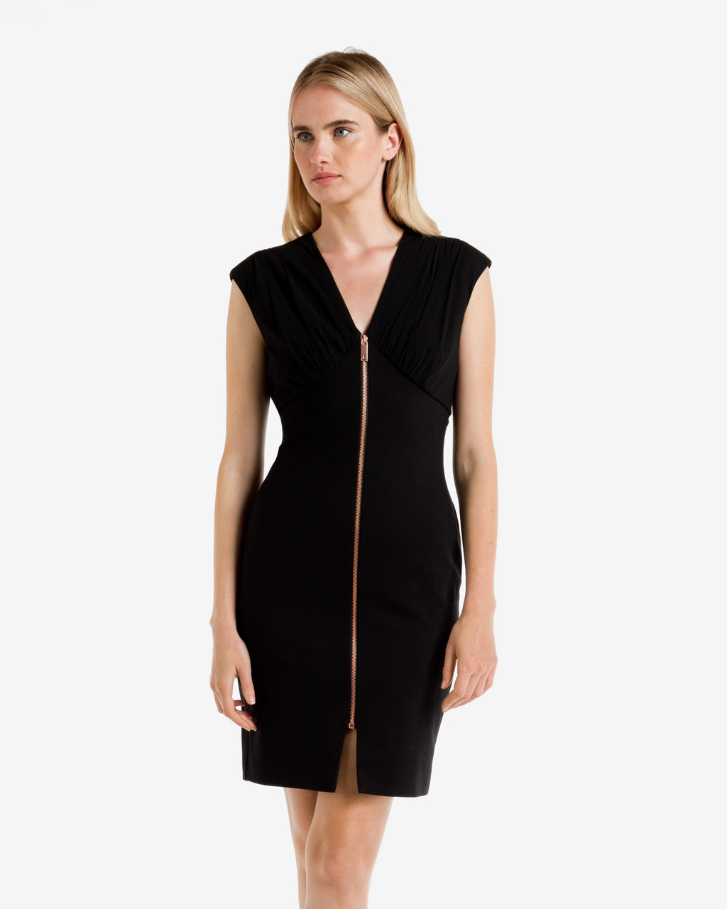 Zip Front Bodycon Dress Black - neckline: v-neck; fit: tight; pattern: plain; sleeve style: sleeveless; style: bodycon; predominant colour: black; occasions: evening; length: just above the knee; fibres: viscose/rayon - stretch; sleeve length: sleeveless; texture group: jersey - clingy; pattern type: fabric; season: a/w 2016; wardrobe: event