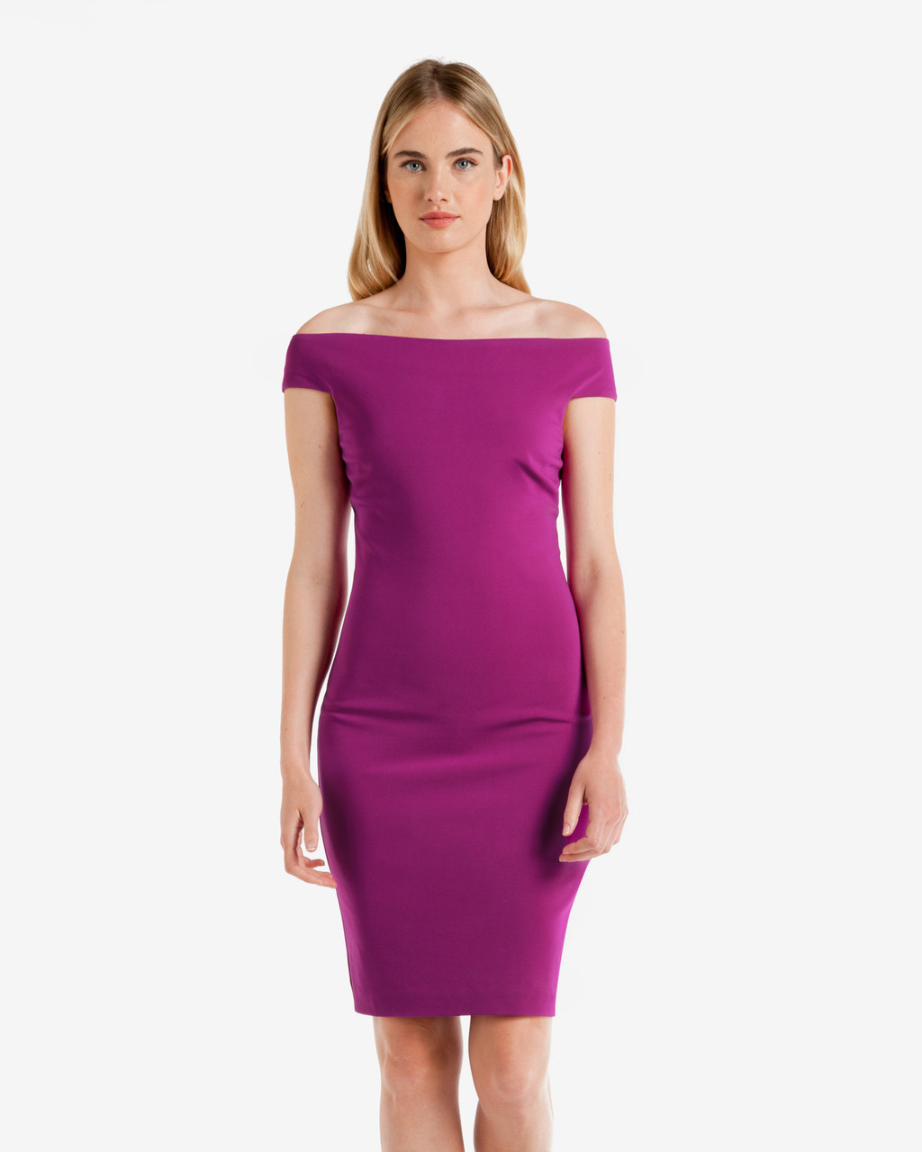 Bardot Neckline Bodycon Dress Pale Purple - neckline: off the shoulder; sleeve style: capped; fit: tight; pattern: plain; style: bodycon; predominant colour: purple; occasions: evening; length: just above the knee; fibres: viscose/rayon - stretch; sleeve length: short sleeve; texture group: jersey - clingy; pattern type: fabric; season: a/w 2016