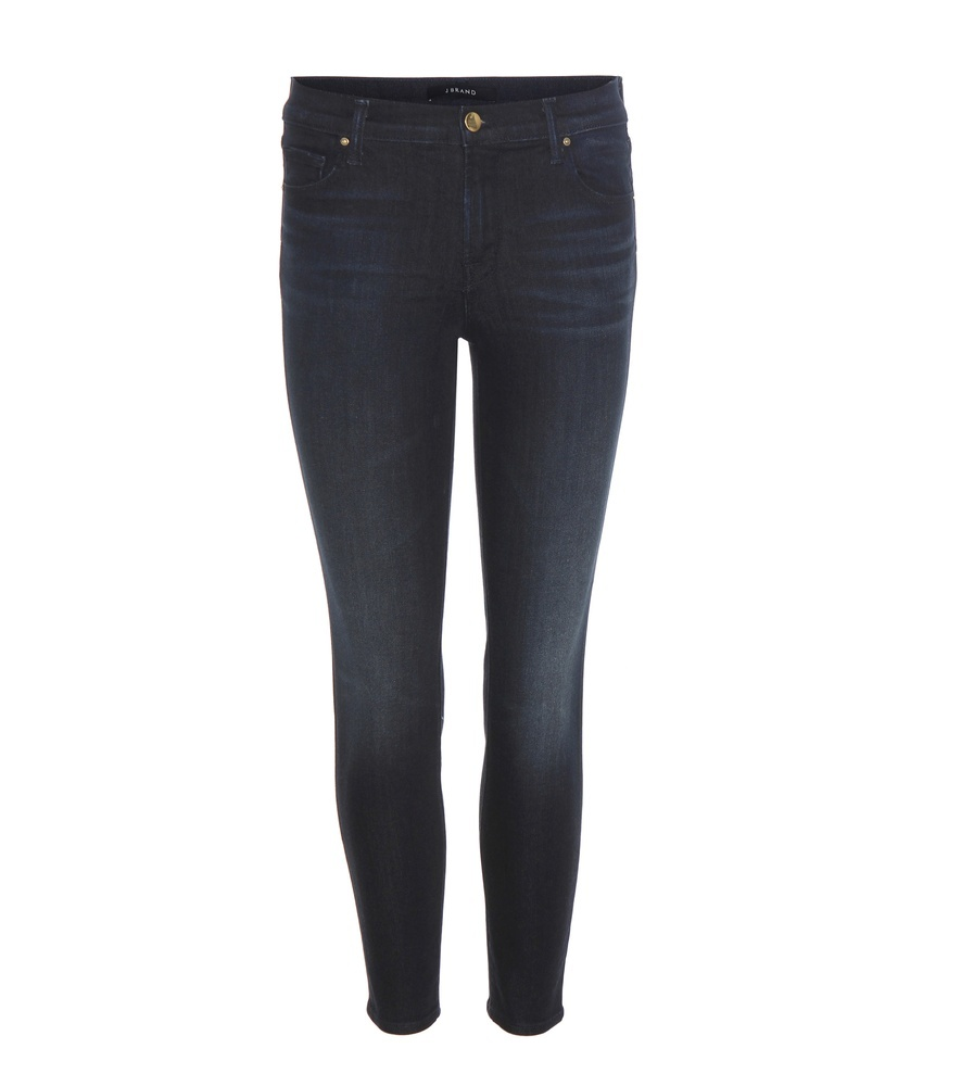 Capri Mid Rise Cropped Jeans - style: skinny leg; length: standard; pattern: plain; pocket detail: traditional 5 pocket; waist: mid/regular rise; predominant colour: navy; occasions: casual; fibres: cotton - stretch; jeans detail: dark wash; texture group: denim; pattern type: fabric; season: a/w 2016