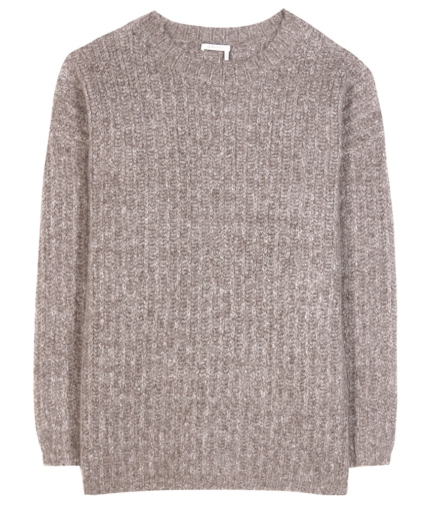Mohair Blend Sweater - neckline: round neck; pattern: plain; length: below the bottom; style: standard; hip detail: fitted at hip; predominant colour: light grey; occasions: casual, work, creative work; fibres: wool - mix; fit: standard fit; sleeve length: long sleeve; sleeve style: standard; texture group: knits/crochet; pattern type: knitted - other; wardrobe: basic; season: a/w 2016
