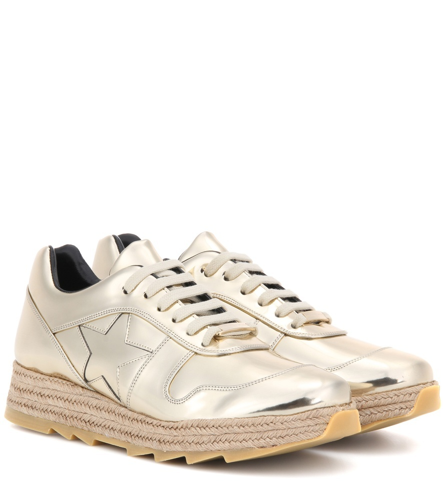 Hackney Metallic Platform Sneakers - predominant colour: gold; occasions: casual; material: leather; heel height: flat; toe: round toe; style: trainers; finish: metallic; pattern: plain; shoe detail: platform with tread; season: a/w 2016