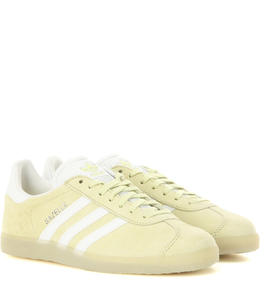 Gazelle Suede Sneakers - secondary colour: white; predominant colour: primrose yellow; occasions: casual; material: suede; heel height: flat; toe: round toe; style: trainers; finish: plain; pattern: striped; multicoloured: multicoloured; season: a/w 2016; wardrobe: highlight
