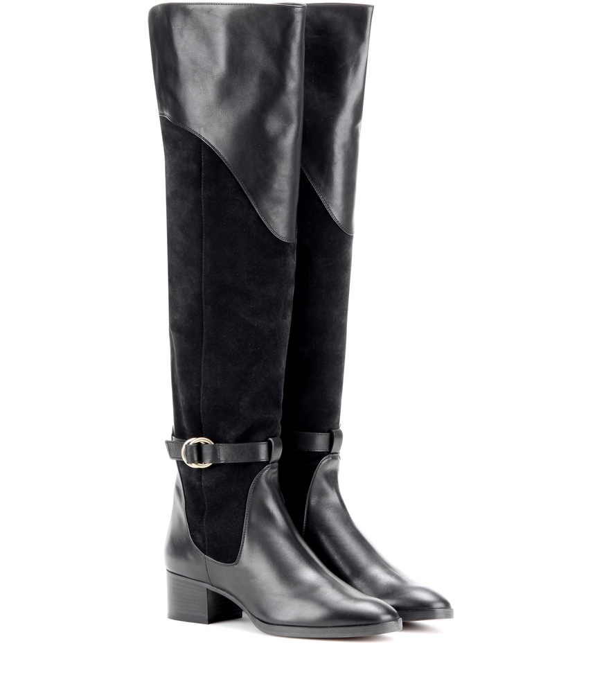 Suede And Leather Knee High Boots - predominant colour: black; occasions: casual; material: suede; heel height: flat; heel: block; toe: round toe; boot length: knee; style: standard; finish: plain; pattern: plain; wardrobe: investment; season: a/w 2016