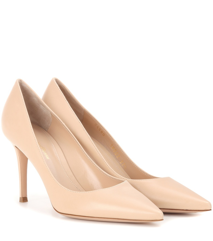 Gianvito 85 Leather Pumps - predominant colour: nude; occasions: evening; material: leather; heel height: high; heel: stiletto; toe: pointed toe; style: courts; finish: plain; pattern: plain; season: a/w 2016