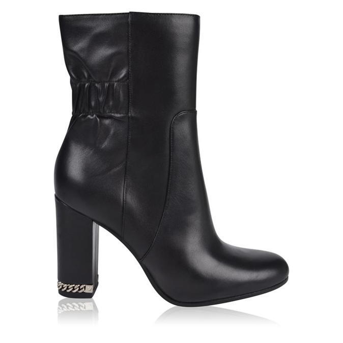 Kors Dolores Boots - predominant colour: black; occasions: evening; material: leather; heel height: high; heel: block; toe: round toe; boot length: ankle boot; style: standard; finish: plain; pattern: plain; embellishment: chain/metal; season: a/w 2016; wardrobe: event