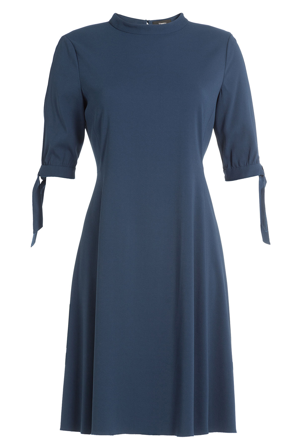 Crepe Dress - pattern: plain; neckline: high neck; predominant colour: royal blue; occasions: evening; length: just above the knee; fit: fitted at waist & bust; style: fit & flare; fibres: viscose/rayon - stretch; sleeve length: short sleeve; sleeve style: standard; texture group: crepes; pattern type: fabric; season: a/w 2016; wardrobe: event