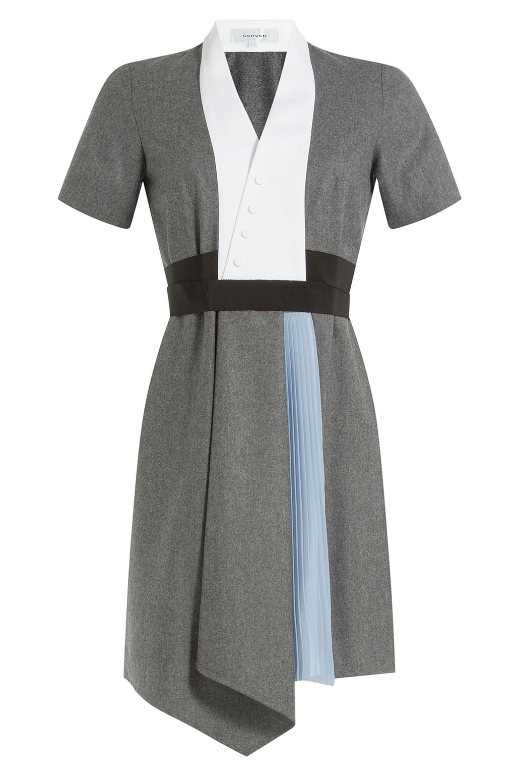 Wool Dress With Pleated Insert - style: shift; neckline: v-neck; secondary colour: white; predominant colour: mid grey; occasions: evening; length: just above the knee; fit: body skimming; fibres: wool - 100%; sleeve length: short sleeve; sleeve style: standard; texture group: knits/crochet; pattern type: fabric; pattern: colourblock; multicoloured: multicoloured; season: a/w 2016; wardrobe: event