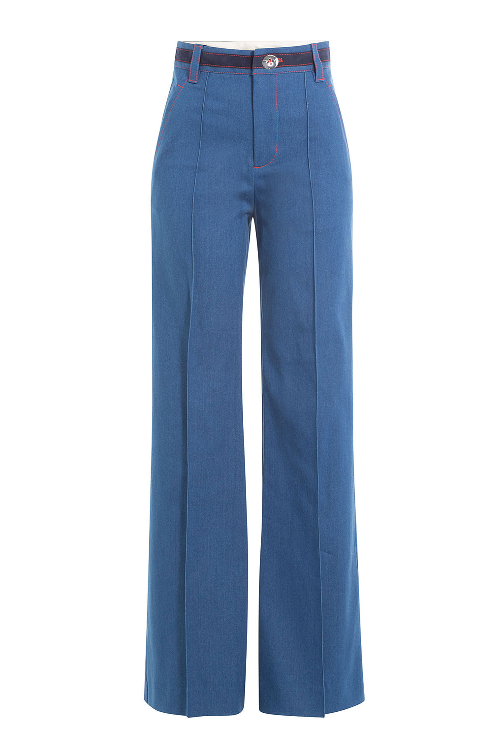 Wide Leg Jeans With Contrast Thread - length: standard; pattern: plain; waist: high rise; style: wide leg; predominant colour: denim; occasions: casual, evening, creative work; fibres: cotton - stretch; texture group: denim; pattern type: fabric; wardrobe: basic; season: a/w 2016