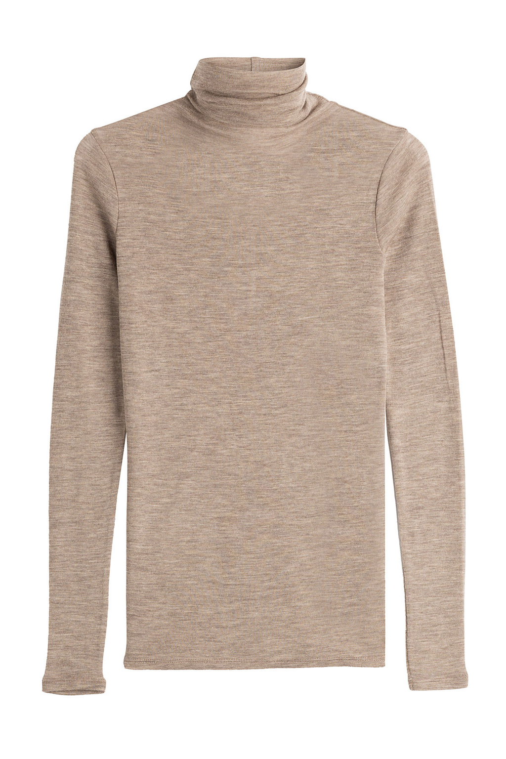 Wool Turtleneck Pullover Brown - pattern: plain; neckline: roll neck; style: standard; hip detail: fitted at hip; predominant colour: camel; occasions: casual; length: standard; fibres: wool - 100%; fit: slim fit; sleeve length: long sleeve; sleeve style: standard; texture group: knits/crochet; pattern type: knitted - fine stitch; season: a/w 2016